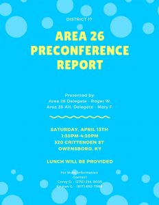 Area 26 Preconference Report @ 320 Club