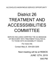 Treatment and Accessibilities Committee Meeting @ REBOS Club