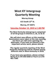 West KY Intergroup Meeting @ Murray Group