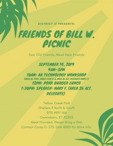District 17 Friends of Bill W. Picnic @ Yellow Creek Park (Shelter 3)