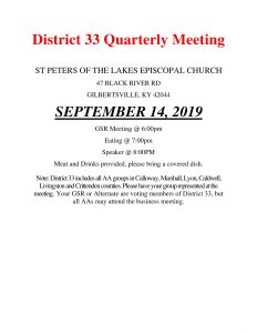 District 33 Qtrly Meeting and Dinner @ St. Peters of the Lakes Episcopal Church