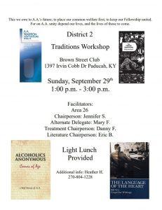District 2 Traditions Workshop @ Brown Street Club
