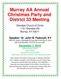 District 33 Yearly Christmas Dinner and GSR Meeting @ Glendale Church of Christ