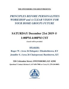 Principles Before Personalities Workshop @ 320 Club