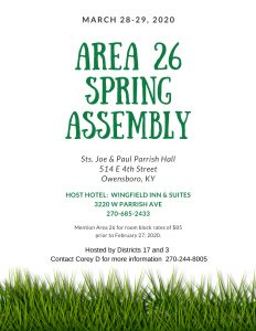 Area 26 Spring Assembly @ S S Joseph & Paul Parish Hall