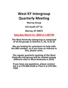 WK Intergroup Quarterly Meeting @ Murray Group
