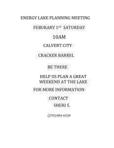 Energy Lake Planning Meeting @ Cracker Barrel