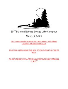 35th Biannual Energy Lake Campout (Cancelled) @ Energy Lake Campground