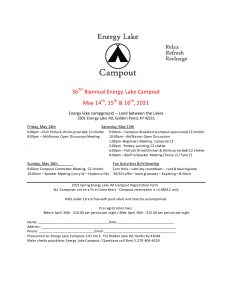 36th Biannual Energy Lake Campout @ Energy Lake Campground