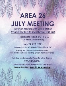 Area 26 Meeting @ Holiday Inn: University Plaza