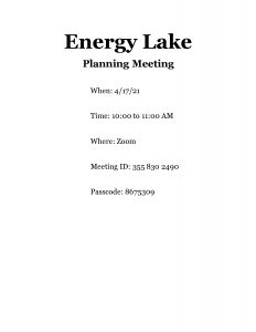 Energy Lake Planning Meeting @ Zoom